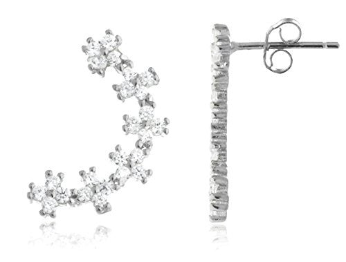 925 Sterling Silver Floral Clusted Ear...