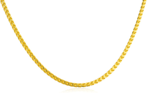 925 Sterling Silver Goldtone 1.8mm Franco Chain - Available In 16-30 Inches