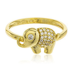 925 Sterling Silver Goldtone Iced Out Elephant Ring With Cubic Zirconia Stones Sizes 6-8