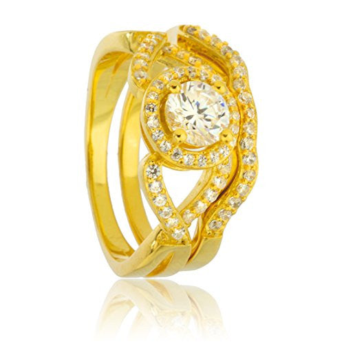 925 Sterling Silver Goldtone With Cz Round Caged Stone Engagement Ring 2 Piece Set Sizes 6-9
