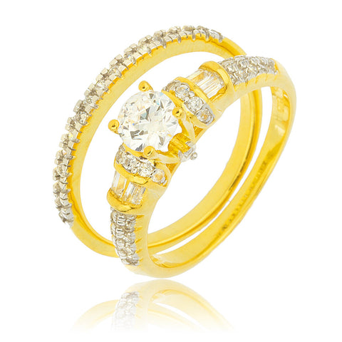925 Sterling Silver Goldtone With Wrap Around Round Cz Stone Engagement Ring 2 Piece Set Sizes 8-9