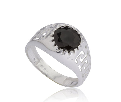 925 Sterling Silver Greek Key Link Band Ring With Black Round Cz Stone