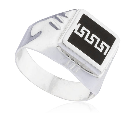 925 Sterling Silver Greek Key Link Grooved Square Ring