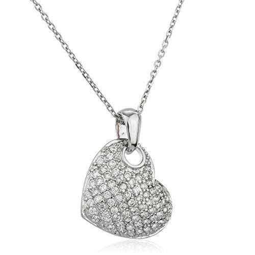 925 Sterling Silver Heart Pendant With Cubic Zirconia And An 18 Inch Link Necklace