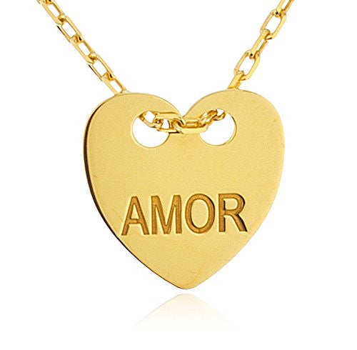 925 Sterling Silver Heart With Engraved Amor Pendant With An 18 Inch Link Necklace