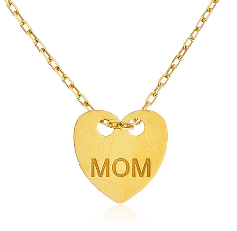 925 Sterling Silver Heart With Engraved Mom Pendant With An 18 Inch Cable Necklace