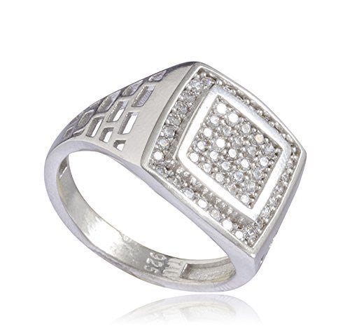 925 Sterling Silver Iced Out Double Square Ring