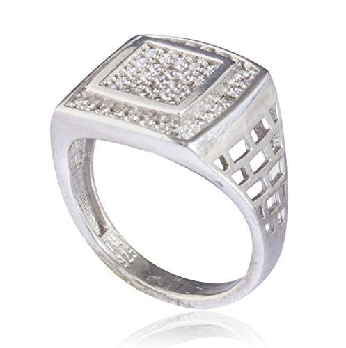 Real 925 Sterling Silver Iced Out Double Square Ring (9)