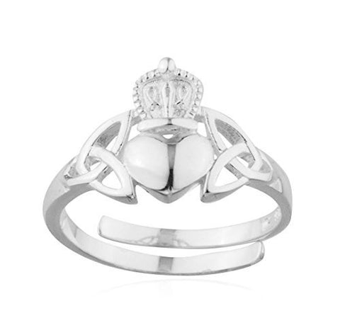 925 Sterling Silver Irish Claddagh Friendship And Love Band Celtic Resizable Ring