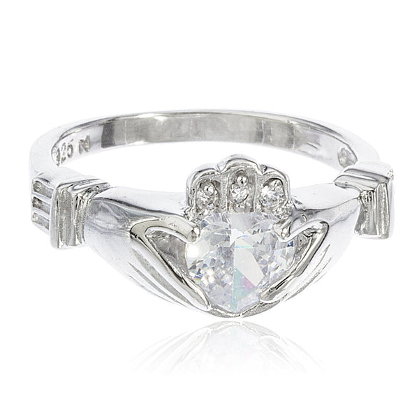 925 Sterling Silver Irish Claddagh Style Ring With Cubic Zirconia