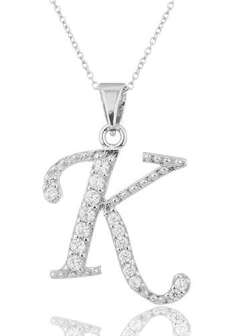 925 Sterling Silver 'Letters Of The Alphabet' Pendant With Cz Stones And An 18 Inch Link Necklace