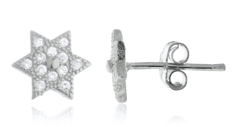 925 Sterling Silver Mini Star Of David Stud Earrings With CZ Stones - Available In Vermeil And Rhodium