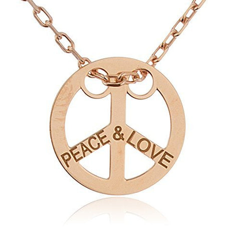925 Sterling Silver Peace Pendant Engraved With Peace & Love With An 18 Inch Cable Necklace