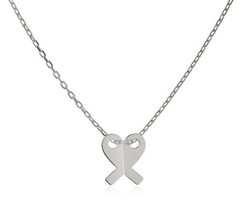 925 Sterling Silver Ribbon Heart Pendant...