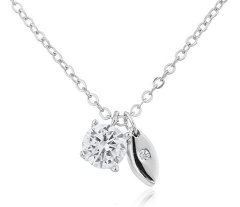 925 Sterling Silver Round Cz Stone And Evil Eye Necklace