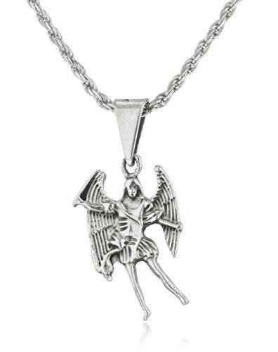 925 Sterling Silver San Miguel Arcangel Pendant With A 24 Inch Rope Chain Necklace
