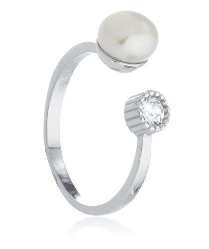 925 Sterling Silver Simulated Pearl And...