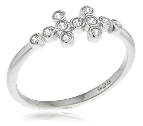 925 Sterling Silver Small Round Cubic Zirconia Stones Finger Ring