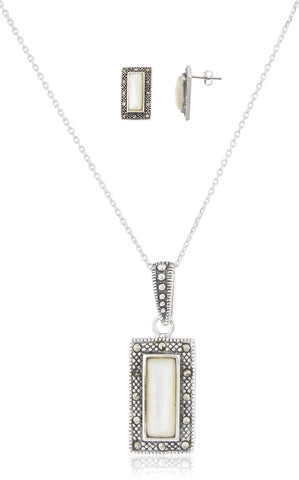 925 Sterling Silver Swiss Marcasite Rectangle Earrings And Pendant With 18 Inch Necklace Jewelry Set