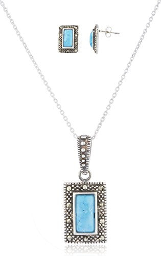 925 Sterling Silver Swiss Marcasite Rectangle...