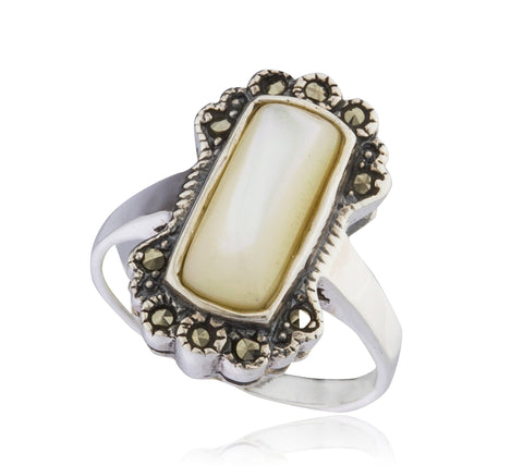 925 Sterling Silver Swiss Marcasite Rectangle Off-White Ring