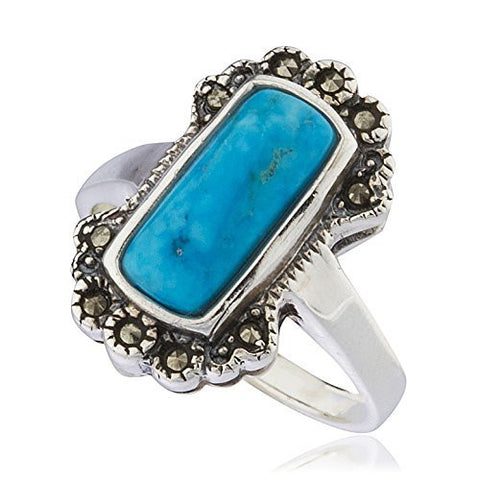 925 Sterling Silver Swiss Marcasite Rectangle Turquoise Ring