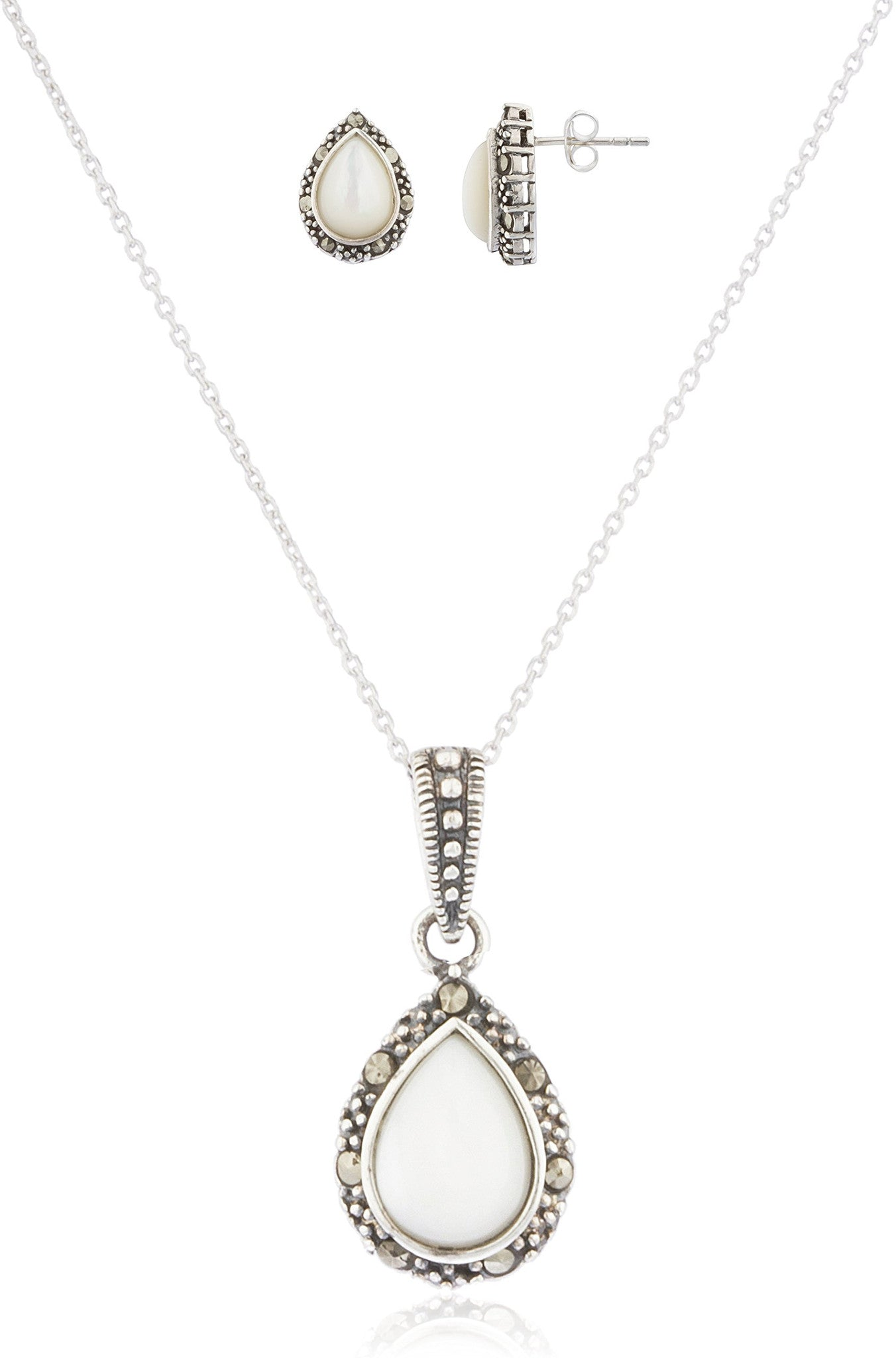 marcassite.com Real 925 Sterling Silver Swiss Marcasite Teardrop Earrings and Pendant with 18 Inch Necklace Jewelry Set (Off-White)