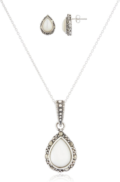 925 Sterling Silver Swiss Marcasite Teardrop Earrings And Pendant With 18 Inch Necklace Jewelry Set