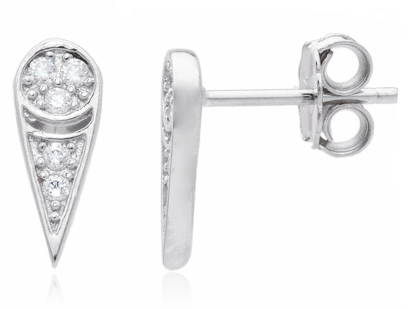 925 Sterling Silver Teardrop Shape With Cz Stones Stud Earrings