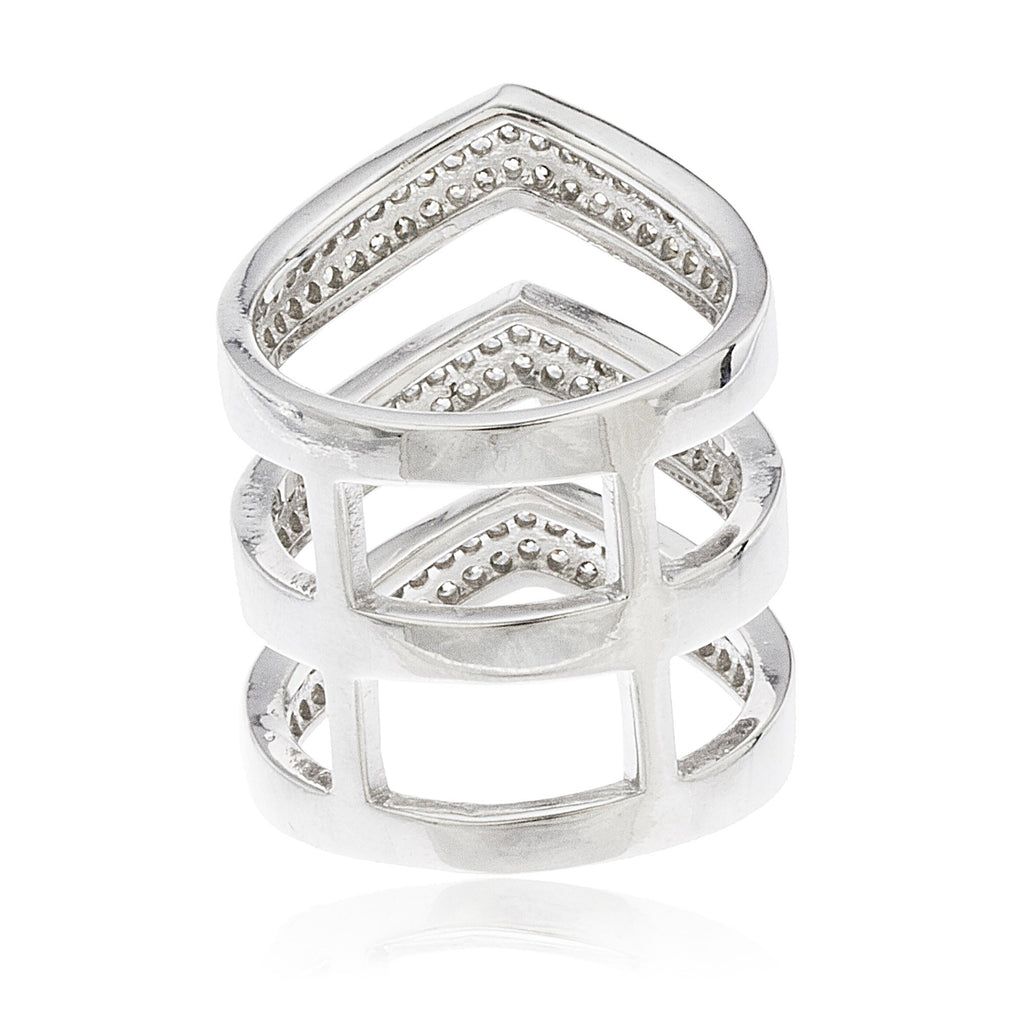 925 Sterling Silver Tritone Triple Layered...