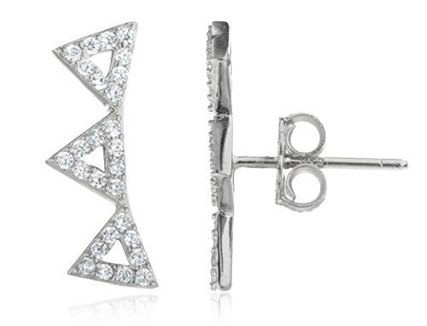 925 Sterling Silver Vermeil 3 Triangles With Cz Stone Stud Earrings