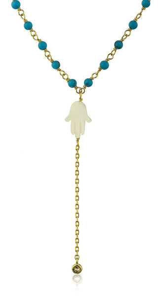 925 Sterling Silver White Created Opal Hamsa With Dangling Cz Stone And A 18 Inch Beaded Link Necklace