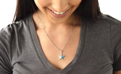 925 Sterling Silver Opal Starfish Pendant 18 Inch Necklace