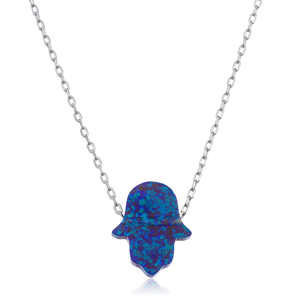 Silver Dark Blue Opal Hamsa Necklace...