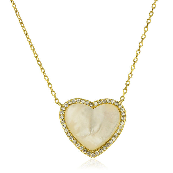 Silver Goldtone White Opal Heart Pendant with Cz Stones