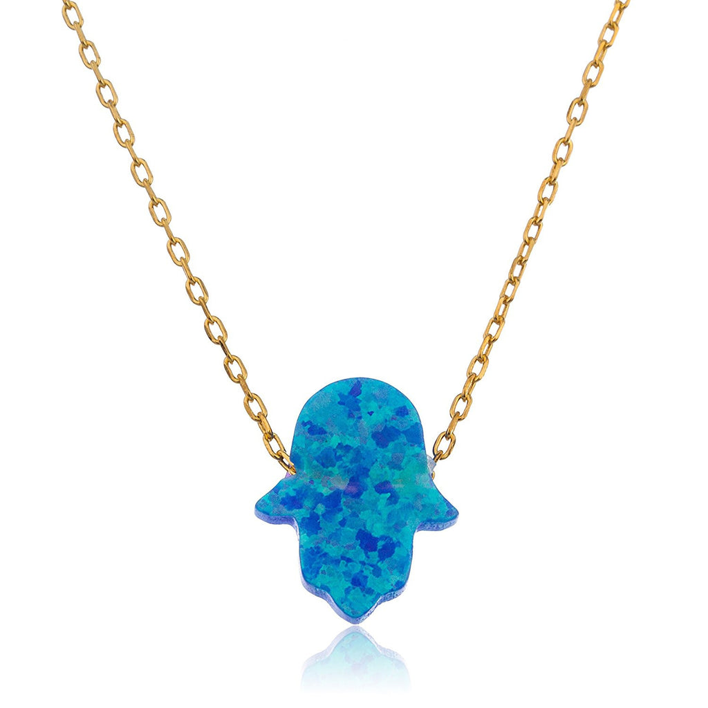 Silver Light Blue Opal Hamsa Necklace...