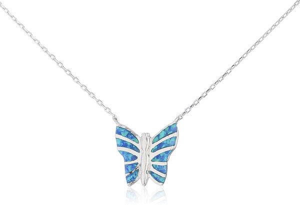 Silver Opal Butterfly Necklace Blue