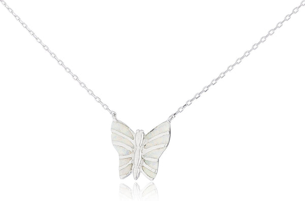 Silver Opal Butterfly Necklace White