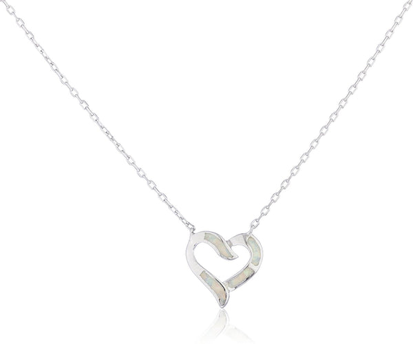 Silver Opal Heart Necklace White