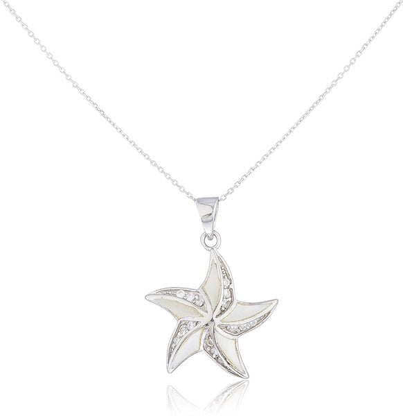 Silver Opal Starfish with Cz Stones Necklace White