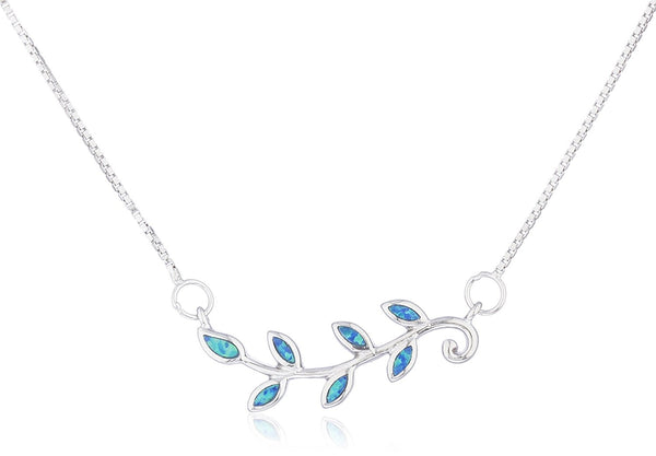 Silver Opal Leaf Necklace Blue