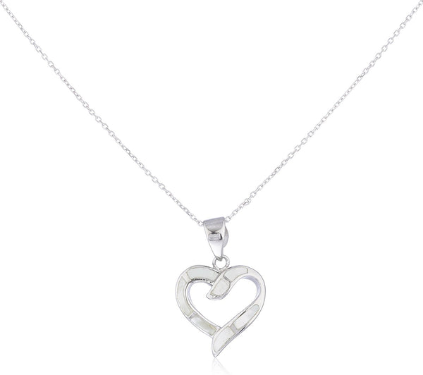 Silver Opal Open Love Heart Necklace White