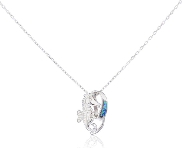 Silver Opal Seahorse Necklace Blue