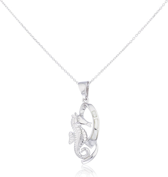 Silver Opal Seahorse Necklace White
