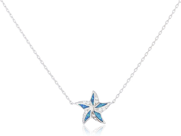 Silver Opal Star Necklace Blue