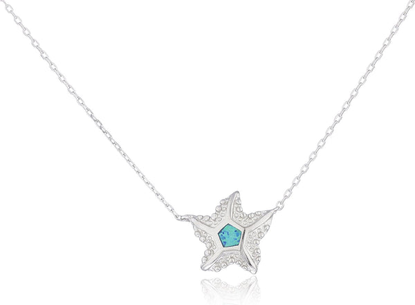 Silver Opal Starfish Necklace Blue