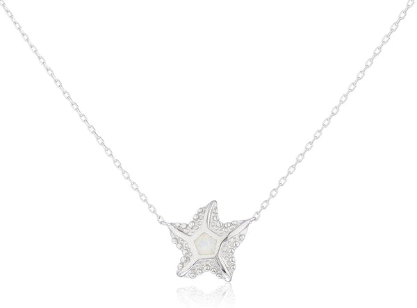 Silver Opal Starfish Necklace White