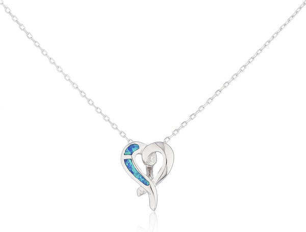 Silver Opal Swirl Heart Necklace Blue
