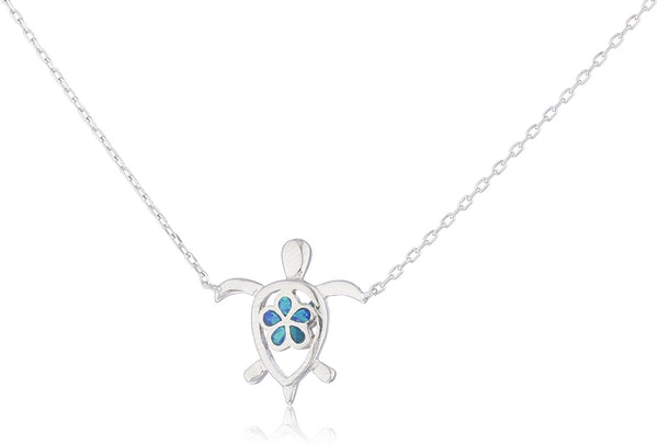 Silver Opal Turtle Necklace with Flower Blue