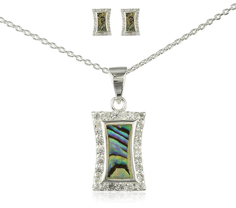 Silver Rectangular Opal Necklace with Matching Earrings Splash